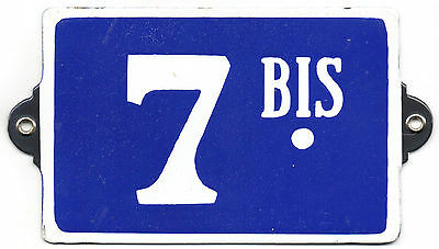 Old blue French house number 7 BIS B door gate plate plaque enamel steel sign