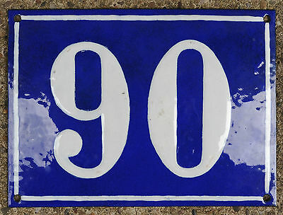 Large old French house number 90 door gate plate plaque enamel steel metal sign