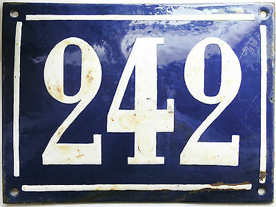 Large old French house number 242 door gate plate plaque enamel steel metal sign