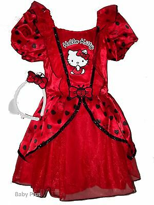 bnwt hello kitty red layered fancy dress outfit costume 3,4,5,6,7,8 yrs