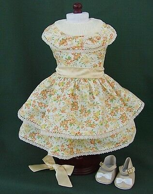"""American Girl 18"""" KIT Retired PRINT FLORAL w LACE SUMMER OUTFIT REPRO w SHOES"""