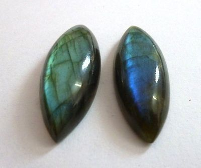 A PAIR OF 12x6mm MARQUISE-CABOCHON NATURAL AFRICAN LABRADORITE GEMSTONES