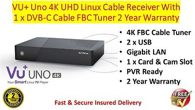 VU+ Uno 4K UHD Linux Cable Receiver With Twin DVB-C FBC Cable Tuner