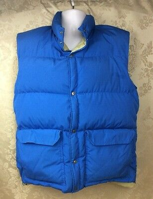 Vintage Camp 7 L Boulder Colorado Goose Down Puffer Vest Blue Cotton Insulated