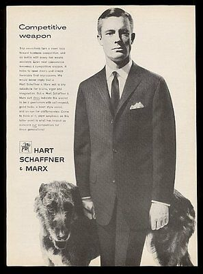 1961 Irish Wolfhound photo Hart Schaffner & Marx men's suits vintage print ad
