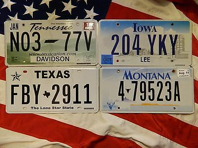 LOT OF 4 license licence plate plates USA NUMBER AMERICAN REGISTRATION