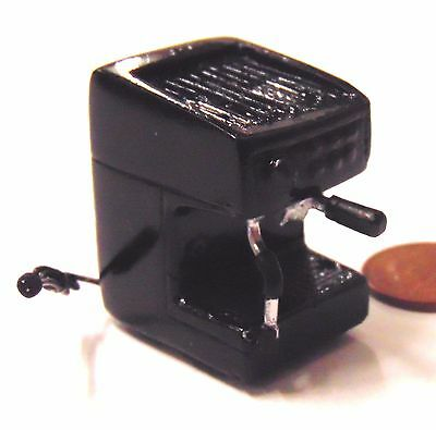 1:12 Scale Dolls House Cafe Kitchen Drink Accessory Black Resin Coffee Machine