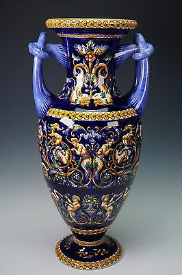 "15 7/8""  Gien Fond Bleu Vase Urn French Faience Italian Renaissance - Perfect!"