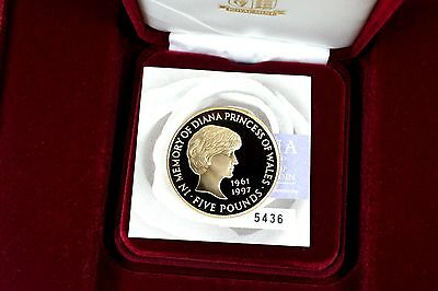 Britain 1999 Royal Mint Lady Diana £5 Five Pound Gold Coin Box Coa - Gem Proof