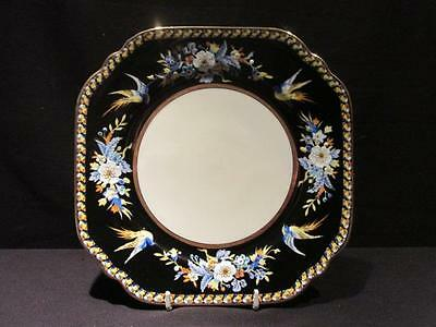 "Noritake Vintage Hand Painted 8 1/2"" Plate Black Border Blue & Yellow Birds"