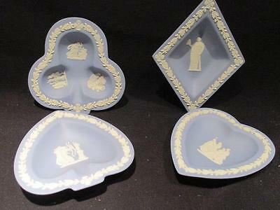 Wedgwood Vintage Set of 4 Playing Card Pin Dishes Diamonds Hearts Clubs Spades