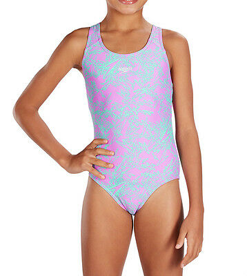 Speedo Girls Swimsuit/swimming Costume.new Boom Allover Splashback Purple 7S/654