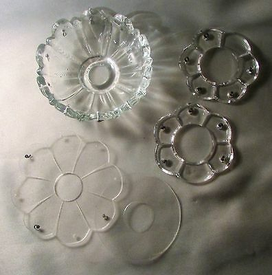 5 Assorted Bobeches for Lamp Candle Holder Including Matched Set w/ Prism Holder