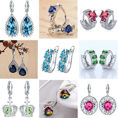 Women Fashion 925 Sterling Silver Gamstone Crystal Ear Stud Dangle Hoop Earrings