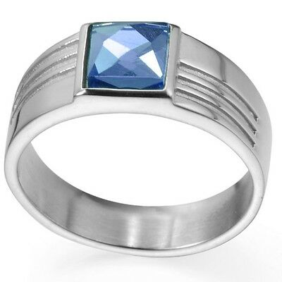 8MM Size 5-15 Stainless Steel Ring Princess Cut Blue Sapphire Wedding Engagement