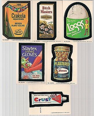 "WACKY PACKAGES SERIES 1 VINTAGE 1979 TOPPS 6 CARD LOT ""A"" #'s 8 11 13 25 44 66"