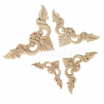 Classic Flower Wood Decal Cabinets Furniture Unpainted Onlay Corner Applique