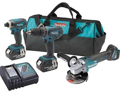 New Makita Xt324 3 Piece 18 Volt Cordless Drill Impact Wrench Grinder Tool Set