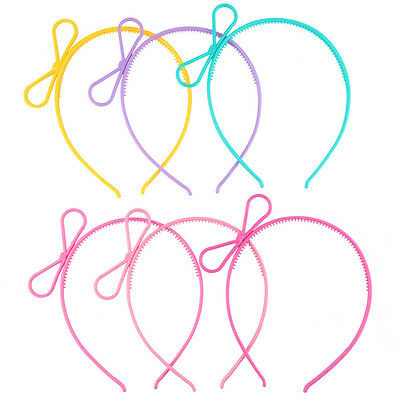 6PCS Baby Girl Kids Plastic Bows Crown Hair Tiara Princess Headband Hair Band