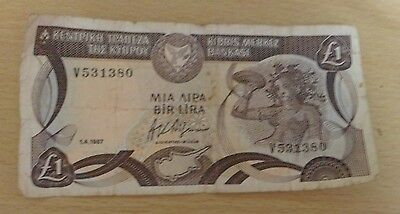 Central Bank Of Cyprus £1 Note  Currency 1.4.1987