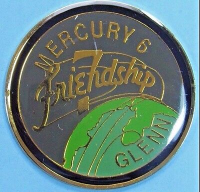 "NASA John Glenn MAGNET - Mercury 6 - Friendship 7 - 1.25"" enamel metal vtg"
