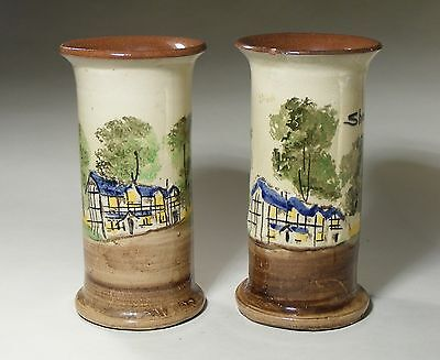 Pair Unmarked Torquay Pottery Vases- Shakespeare's Birthplace