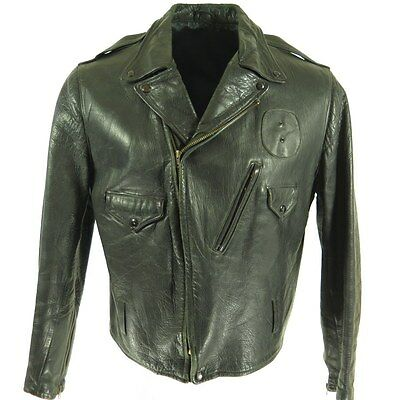 Vintage 50s Police Leather Jacket Mens 46 Motorcycle Biker Black