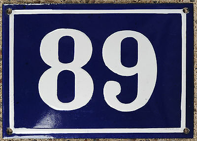 Large old blue French house number 89 door gate plate plaque enamel steel sign