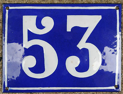 Large old French house number 53 door gate plate plaque enamel steel metal sign