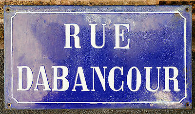 French vitreous enamel steel street sign road plaque vintage Rue Dabancour 1900