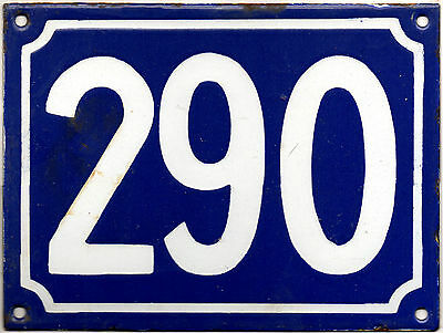 Large old blue French house number 290 door gate plate plaque enamel metal sign