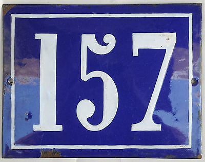 Large old French house number 157 door gate plate plaque enamel steel metal sign