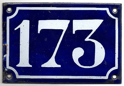 Old blue French house number 173 door gate plate plaque enamel steel sign c1900