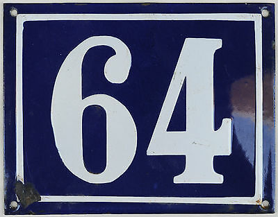 Large blue French house number 64 door gate plate plaque enamel steel metal sign