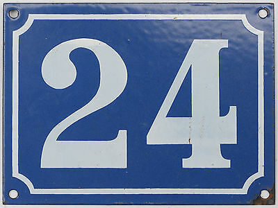 Old blue French house number 24 door gate plate plaque enamel steel metal sign