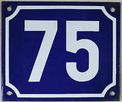 Old blue French house number 75 door gate plate plaque enamel steel metal sign