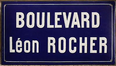 French enamel steel street sign road plaque vintage Boulevard Leon Léon Rocher