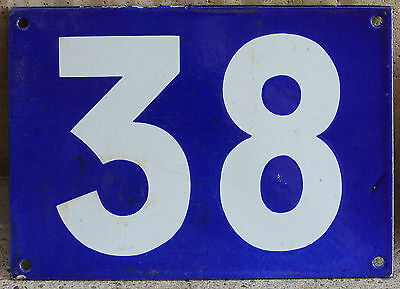Giant old French house number 38 door gate plate plaque enamel steel sign
