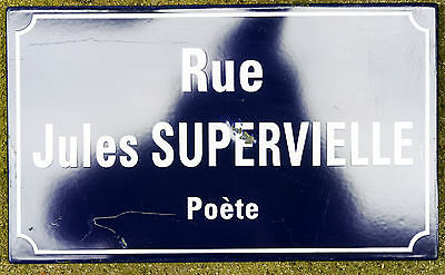 Old French enamel steel street sign plaque Rue Jules Supervielle poet Limoges