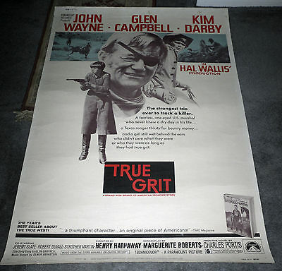 TRUE GRIT original 1969 large 40x60 movie poster JOHN WAYNE/GLEN CAMPBELL