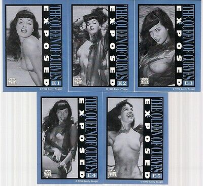 """BETTIE PAGE THE QUEEN OF CURVES '96 COMPLETE """"EXPOSED"""" 5 CHASE CARD SET #s E1-E5"""