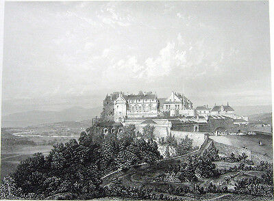 Scotland STIRLING CASTLE GATE WALLS FORTRESS CANNONS ~ 1876 Art Print Engraving
