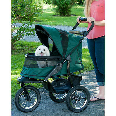 "Pet Gear NO-ZIP JOGGER DOG CAT PET STROLLER with Bolster Pad 41.5"" H Green"