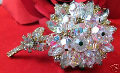 Vintage Dripping Crystal Juliana Flower Pin CAT RESCUE