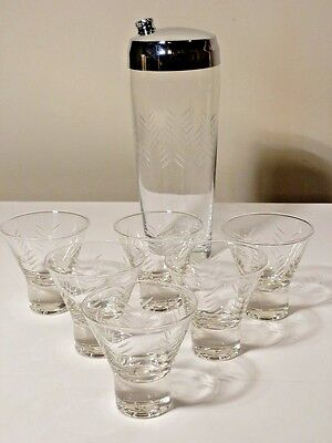 Rain By Javit Crystal Cocktail Shaker And 6 Matching Glasses Excellent