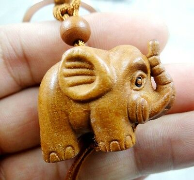 Hand-carved Elephant Wooden Crafts, Key Chain, Key Ring g38