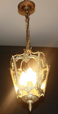 VINTAGE LANTERN FRENCH  BRASS  LAMP WITH 5 GLASS PANELS (dc17)