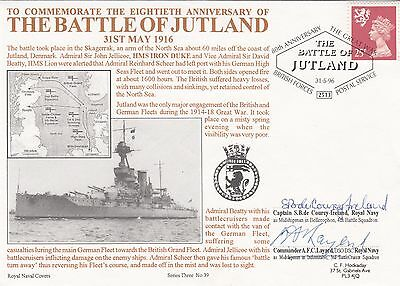 3RNCH39b 80th Anniv Battle of Jutland Signed two WW1 Veterans, Coure- Ireland,