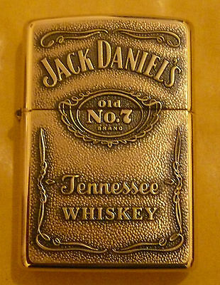 Jack Daniels Brass Label Zippo Lighter Free P&p Free Flints