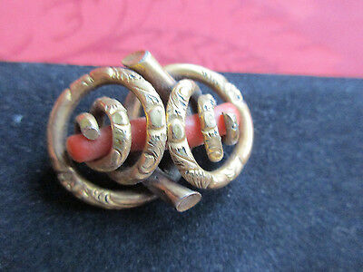 Antique Victorian Edwardian Gold Gilt Red Coral Pin Brooch #58(t)
